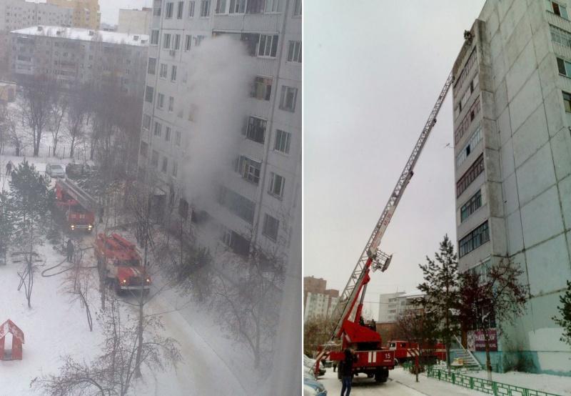 Из-за пожара втюменской многоэтажке огнеборцам довелось эвакуировать людей