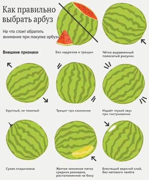 Как правильно выбрать сладкий арбуз фото