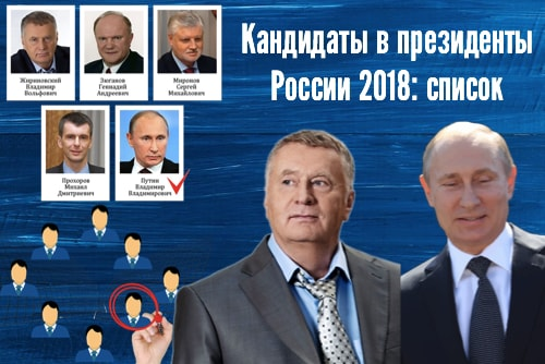 Список кандидатов в президенты фото