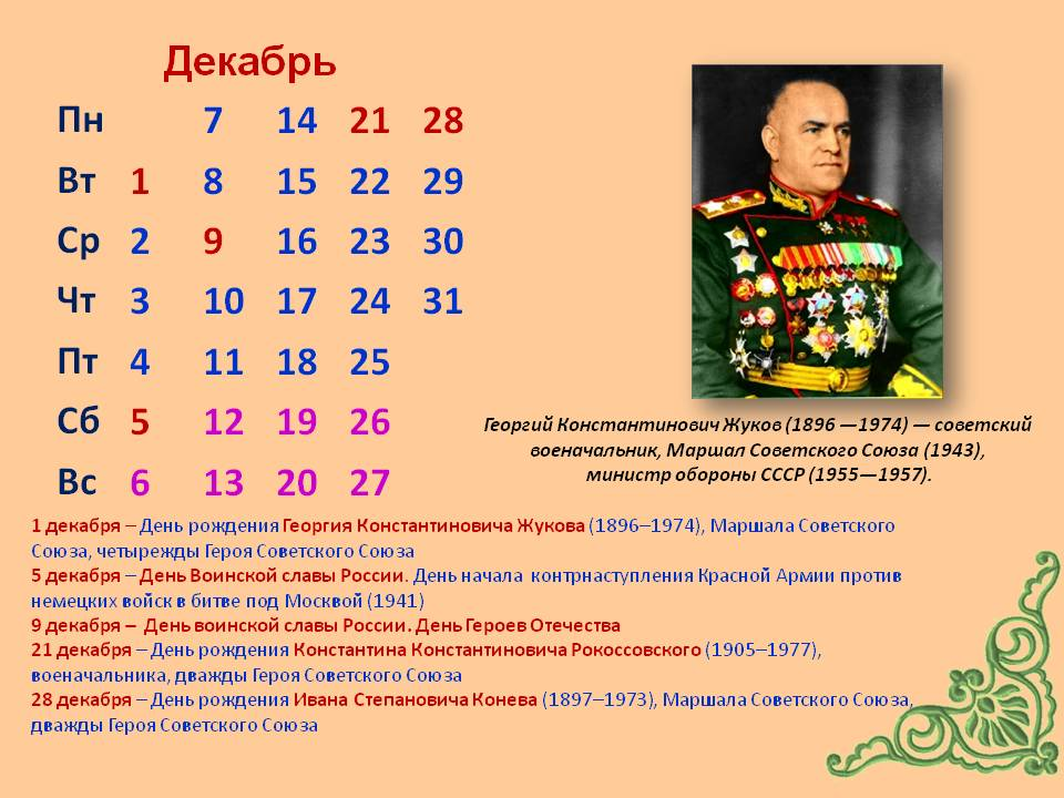 Исторические и памятные даты в декабре фото