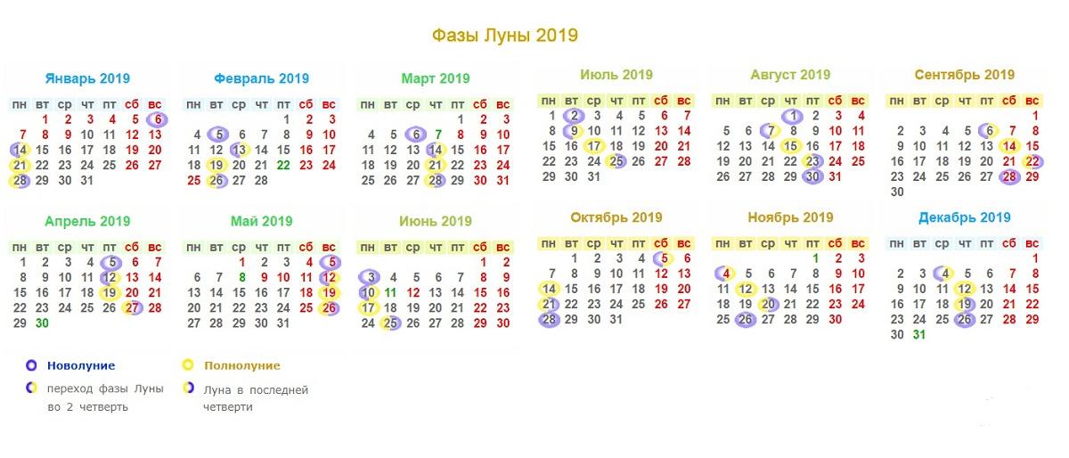 Таблица фаз Луны для садоводов и огородников на 2019 год фото